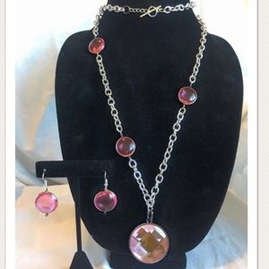 HANDMADE Silver & Pink Necklace and Earring Set
